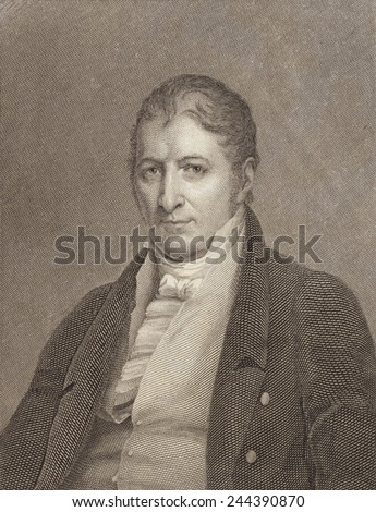 Eli Whitney 1765-1825 inventor and manufacturer famous for inventing the cotton gin and designing guns. Engraving by William Hoogland after Charles Bird King 1785-1862 painting. - stock photo
