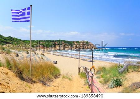 Elias bay beach on a particularly windy day, Skiathos island, Sporades archipelago, Greece - stock photo