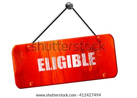 eligible, 3D rendering, vintage old red sign - stock photo