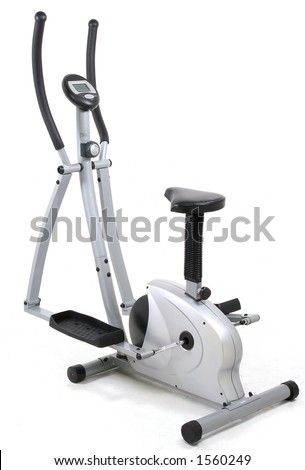 Eliptical gym machine. Health and fitness object  over white background. I´ve got more