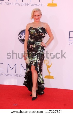 Elisabeth Moss at the 2012 Primetime Emmy Awards Arrivals, Nokia Theater, Los Angeles, CA 09-23-12 - stock photo