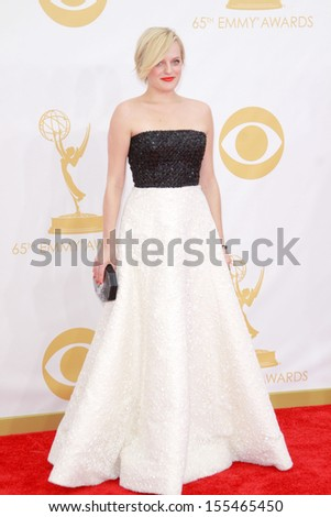 Elisabeth Moss at the 65th Primetime Emmy Awards at the Nokia Theatre, LA Live. September 22, 2013  Los Angeles, CA - stock photo
