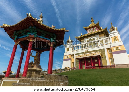 """ELISTA-APRIL 21: Buddhist temple """"Golden Abode of Buddha Shakyamuni"""", April 21, 2015 at Kalmykia, Russia. It is largest Buddhist temple in Europe and accommodates largest in Europe statue of Buddha - stock photo"""