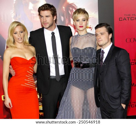 "Elizabeth Banks, Liam Hemsworth, Jennifer Lawrence and Josh Hutcherson at the Los Angeles Premiere of ""The Hunger Games: Catching Fire"" in Los Angeles on November 18, 2013."