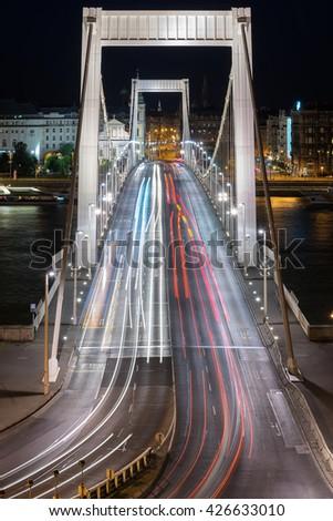 Elizabeth Bridge across the Danube River in Budapest - stock photo