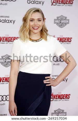 Elizabeth Olsen at the World premiere of Marvel's 'Avengers: Age Of Ultron' held at the Dolby Theatre in Hollywood, USA on April 13, 2015.  - stock photo