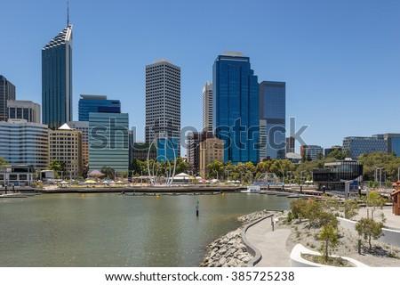 Elizabeth Quay in Perth - stock photo