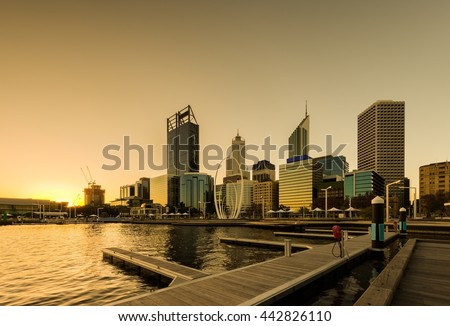 Elizabeth Quay-Perth, capital of Western Australia, where the Swan River meets the southwest coast.