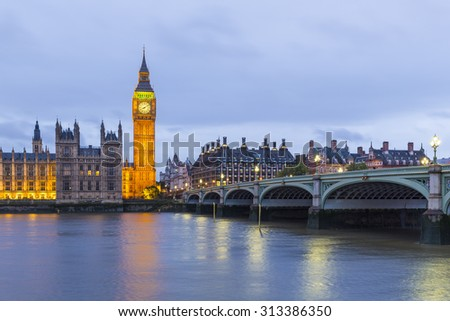 Elizabeth Tower, Big Ben, Houses of Westminster and Westminster Bridge from the South Bank of the River Thames at Dusk, London, England UK - stock photo