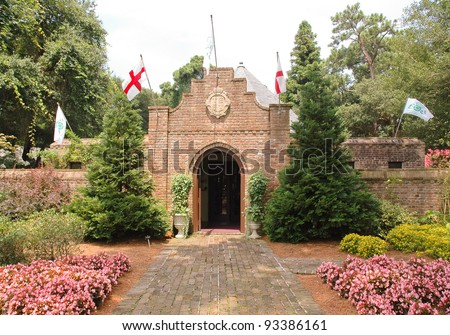 Elizabethan Gardens, brick entrance - stock photo