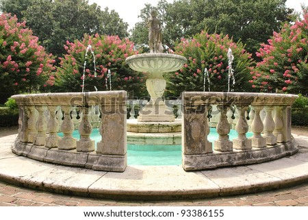 Elizabethan Gardens fountain - stock photo