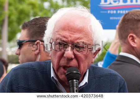 Elizabethtown, Kentucky - May 14, 2016: Senator Bernie Sanders addresses a crowd at a rally at Panera Bread in Elizabethtown, Kentucky.