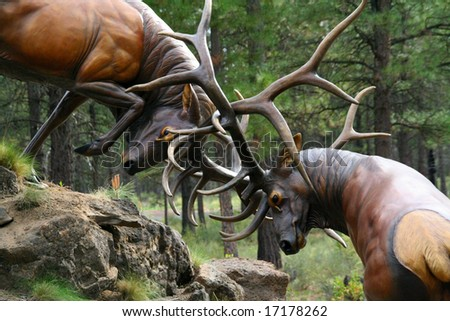 Elk stags fighting,	sculpture, 	High Desert Museum,	Central Oregon