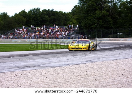 Elkhart Lake Wisconsin, USA - August 18, 2012: Road America Road Race Showcase, ALMS / IMSA sports car and GT race. American Le Mans Series. Oliver Gavin, Tommy Milner, Chevrolet Corvette C6.R  - stock photo