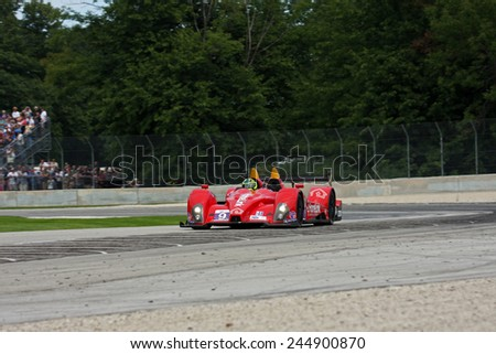 Elkhart Lake Wisconsin, USA - August 18, 2012: Road America Road Race Showcase, ALMS / IMSA sports car motor race. American Le Mans Series Four-hour, timed period. Bruno Junqueira, Roberto Gonzalez,