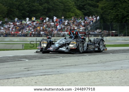Elkhart Lake Wisconsin, USA - August 18, 2012: Road America Road Race Showcase, ALMS, multi-class sports car and GT motor race. American Le Mans Series Four-hour, timed period. Scott Tucker, Luis Diaz