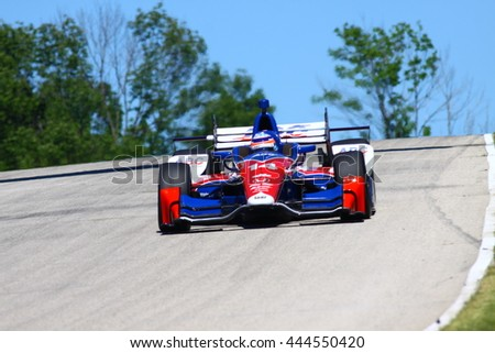 Elkhart Lake Wisconsin USA - 24 June 2016: Indycar racing action Road America. Practice session driver Takuma Sato, Honda #14 ABC supply