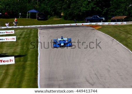 Elkhart Lake Wisconsin USA - 24 June 2016: Indycar racing action Road America. Practice session Tony Kanaan #10, Chip Ganassi Racing, NTT Data