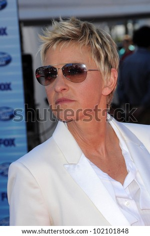 Ellen DeGeneres at the American Idol Grand Finale 2010, Nokia Theater, Los Angeles, CA. 05-26-10 - stock photo