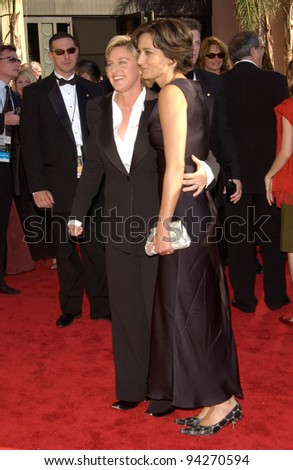 ELLEN DEGENERES & date at the 2002 Emmy Awards in Los Angeles. 22SEP2002.  Paul Smith / Featureflash