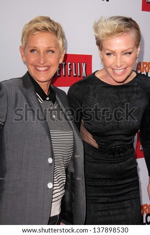 """Ellen Degeneres, Portia de Rossi at the """"Arrested Development"""" Los Angeles Premiere, Chinese Theater, Hollywood, CA 04-29-13 - stock photo"""
