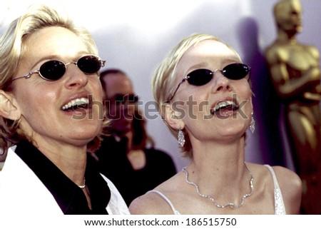 Ellen DeGereres, Anne Heche at the Academy Awards, Circa March, 1999 - stock photo