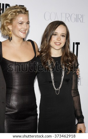 """Ellen Page and Drew Barrymore at the Los Angeles Premiere of """"Whip It"""" held at the Grauman's Chinese Theater in Hollywood, California, United States on September 29, 2009.   - stock photo"""