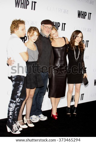"""Ellen Page, Steven Spielberg and Drew Barrymore at the Los Angeles Premiere of """"Whip It"""" held at the Grauman's Chinese Theater in Hollywood, California, United States on September 29, 2009.   - stock photo"""