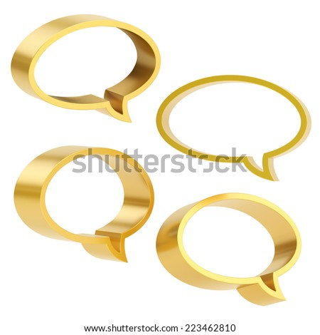 Elliptical shaped golden text bubble dimensional shapes isolated over the white background, set of four foreshortenings - stock photo