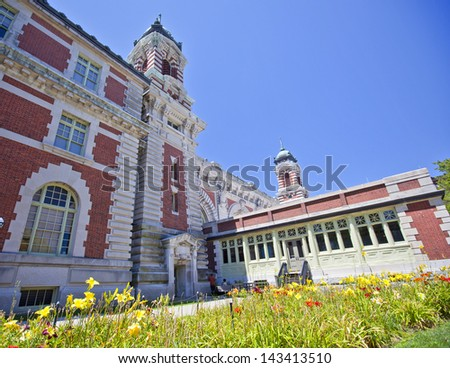 Ellis Island Immigration building on a summer day - stock photo