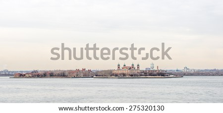 Ellis Island View by the lake side - stock photo