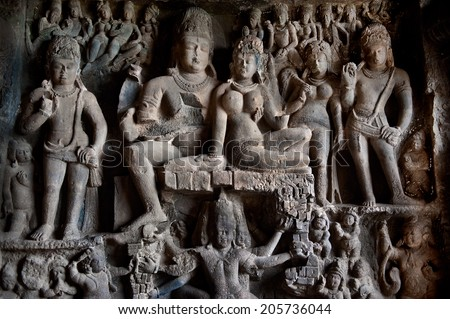 Ellora temple religious complex with buddhist, hindu and jain cave temples and monasteries ,India, unesco world heritage site - stock photo