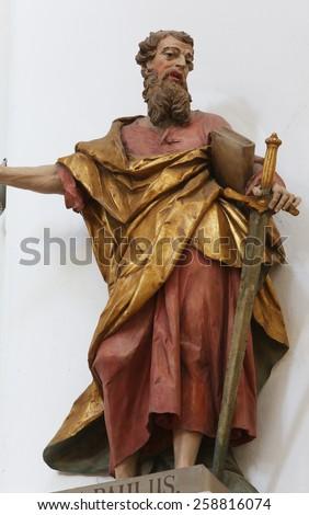 ELLWANGEN, GERMANY - MAY 07: Saint Paul the Apostle, Basilica of St. Vitus in Ellwangen, Germany on May 07, 2014. - stock photo