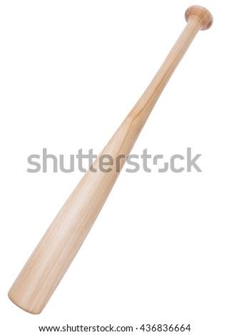 elm tree wooden baseball bat isolated on white background  - stock photo