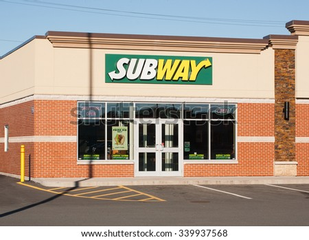 ELMSDALE, CANADA - NOVEMBER 16, 2015: Subway is an American fast food franchise offering sub sandwiches and salads.  - stock photo