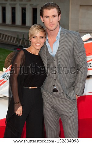 "Elsa Pataky and Chris Hemsworth arriving for the ""Rush"" World premiere at the Odeon Leicester Square, London. 02/09/2013"