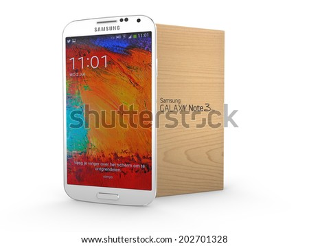 ELSPEET, THE NETHERLANDS, 02 JULY 2014 - Samsung Galaxy Note 3 Smartphone (Phablet) with box. - stock photo