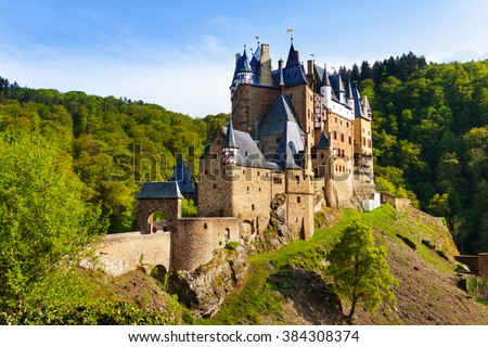 Eltz castle gates and fortification side view Muenstermaifeld, Mayen-Koblenz, Rhineland-Palatinate, Germany Europe - stock photo