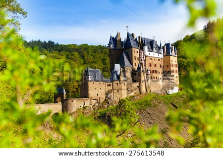 Eltz castle in Germany from the forest  - stock photo