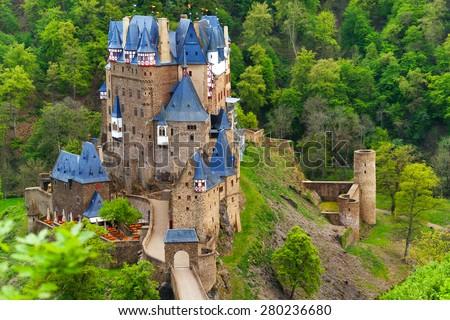 Eltz castle view above, Muenstermaifeld Germany - stock photo