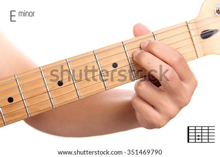 Em - basic minor keys guitar tutorial series. Closeup of hand playing E minor chord on guitar, isolated on white background