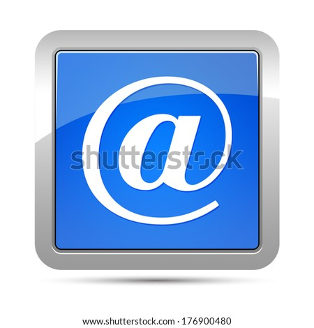 Email address icon blue square button - stock photo