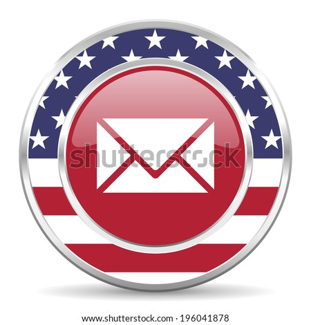 email american icon, usa flag - stock photo