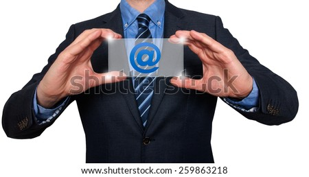 Email and contact symbols in front of businessman. White background - Stock Image - stock photo