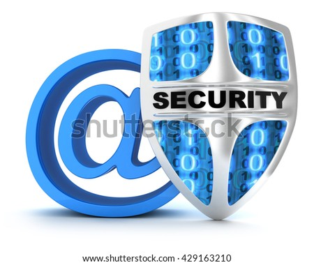 Email and shield on white background (done in 3d)   - stock photo