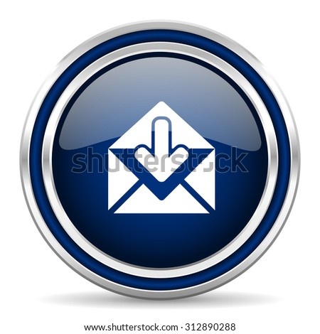 email blue glossy web icon modern computer design with double metallic silver border on white background with shadow for web and mobile app round internet button for business usage  - stock photo