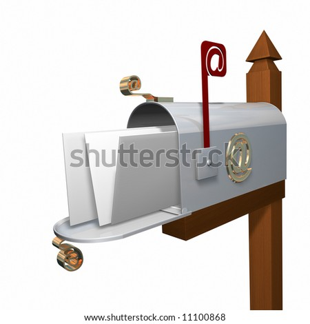 Email box on White - stock photo