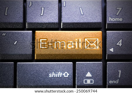 Email button on the computer keyboard - stock photo