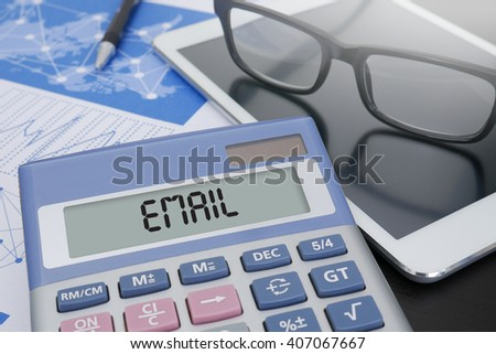 EMAIL Calculator  on table with Office Supplies. ipad