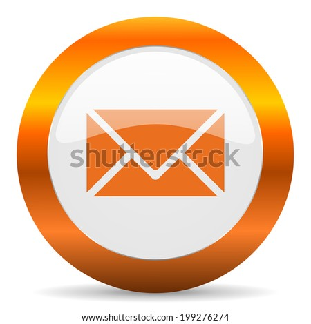 email computer icon on white background - stock photo